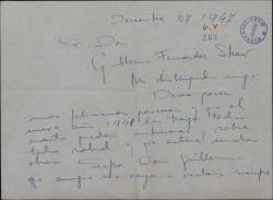 Carta de Carmen Ontiveros a Guillermo Fernández-Shaw, felicitándole las Pascuas y expresando deseos de visitarle.