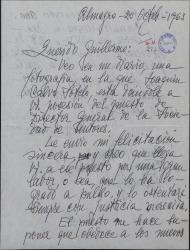 Carta de Carlos Primelles a Guillermo Fernández-Shaw, felicitándole por su nombramiento como Director General de la Sociedad General de Autores de España.