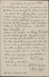 Tarjeta de Felipe Pérez Capo a Guillermo Fernández-Shaw, pidiéndole su colaboración a favor del Montepío de Autores.