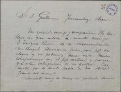 Carta de Emilio G. del Castillo a Guillermo Fernández-Shaw, lamentando no poderle servir en una recomendación.