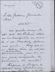 Carta de José López Silva a Guillermo Fernández-Shaw, con añoranza de Madrid, encargándole un asunto relacionado con el cobro de unos derechos de autor.