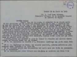 """Carta de Federico Romero, en su nombre y en el de Guillermo Fernández-Shaw, a José Juan Cadenas, contestando a una suya en relación con la representación de """"La tabernera del puerto"""" en Portugal."""