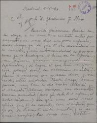 Carta de Vicente Carrión a Guillermo Fernández-Shaw, pidiéndole trabajo para su mujer.