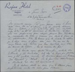 Carta de Antonio Medio a Rafael Fernández-Shaw, hablando de la llegada del maestro Lecuona y otros temas.