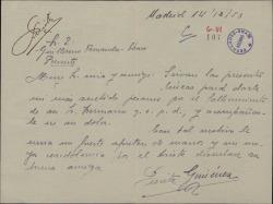 Carta de Purita Jiménez a Guillermo Fernández-Shaw, dándole el pésame por el fallecimiento de su hermano.