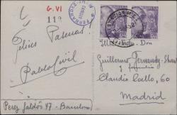 Tarjeta postal de Pablo Civil a Guillermo Fernández-Shaw, felicitándole las Pascuas.