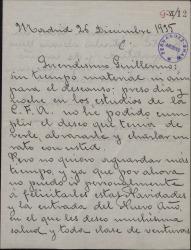 Carta de Valentín González a Guillermo Fernández-Shaw, lamentando no poder ir a visitarle y felicitándole la Navidad.