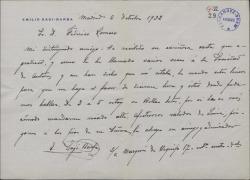 Carta de Emilio Sagi-Barba a Federico Romero, pidiéndole hora y sitio para una entrevista.