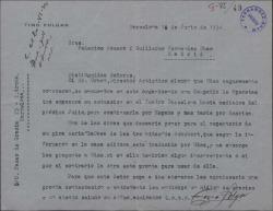 Carta de Tino Folgar a Guillermo Fernández-Shaw y Federico Romero, pidiendo autorización para representar una obra traducida por ellos.
