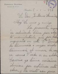 Carta de Federico Bastida a Guillermo Fernández-Shaw, rogándole que le incluya en alguna compañía de zarzuela.