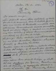 Carta de Daniel Serra a Guillermo Fernández-Shaw, comentando detalles de contrato y otros de una obra de éste que va a representar.