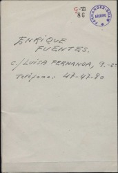 Carta de Luisa Córdoba a Guillermo Fernández-Shaw, recomendándole al tenor Enrique Fuentes.