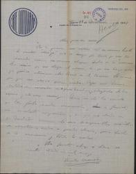 """Carta de Emilio Acevedo a Guillermo Fernández-Shaw y Federico Romero, felicitándoles por el éxito de """"La meiga""""."""