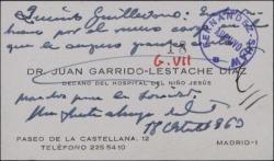 Tarjeta de visita de Juan Garrido-Lestache a Guillermo Fernández-Shaw, felicitándole por la Dirección General de la Sociedad General de Autores de España.