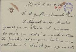 Tarjeta de Victoria Pinedo a Guillermo Fernández-Shaw, agradeciendo el envío de los versos dedicados a Jacinto Guerrero.