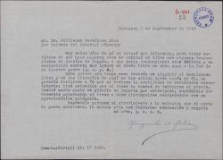 Carta de Margarita de Arbizu a Guillermo Fernández-Shaw, interesándose por adquirir un libro con poesías traducidas por éste.