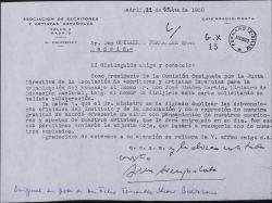 Carta de Luis Araujo Costa a Guillermo Fernández-Shaw, pidiendo su colaboración para un homenaje a D. José Ibáñez Martín.