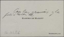 Tarjeta de visita de Ramiro de Maeztu dando gracias y felicitaciones.