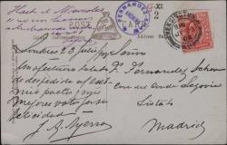 Tarjeta postal de J. A. Ayerza y el Conde de Casa Segovia saludando a Guillermo Fernández-Shaw