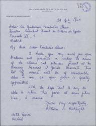 Carta de William A. Mcknight a Guillermo Fernández-Shaw, agradeciéndole el envío de una lista de nombres de actores.