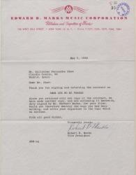 """Carta de Robert B. Marks a Guillermo Fernández-Shaw, adjuntando el contrato de la obra """"Amor que no es verdad""""."""