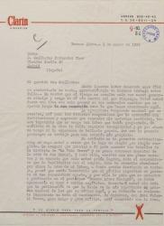 Carta de Rodolfo Arizaga a Guillermo Fernández-Shaw, pidiéndole autorización para publicar un trabajo de éste sobre Manuel de Falla en un periódico de Buenos Aires.