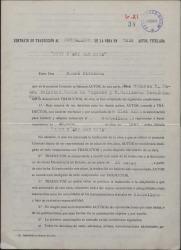 """Contrato firmado por André Birabeau y Guillermo Fernández-Shaw para la traducción al castellano de la obra """"Tout n'est pas noir""""."""