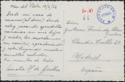 Tarjeta postal de Amalia H. de Grether a Guillermo Fernández-Shaw y su esposa, recordándoles.