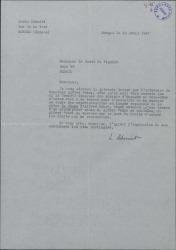 """Carta de Louis Schmidt comunicando al Conde de Vignier cierto asunto en relación con los derechos sobre la obra """"VI étage"""" que se va a representar en España."""