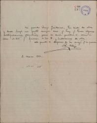 Carta de Rafael Calleja a Guillermo Fernández-Shaw, proponiendo una reunión para tratar sobre unas modificaciones en una obra.