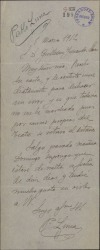 Carta de Pablo Luna a Guillermo Fernández-Shaw, anunciando un retraso en un viaje.