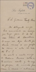 Carta de Luis Foglietti a Guillermo Fernández-Shaw, pidiéndole una entrevista.