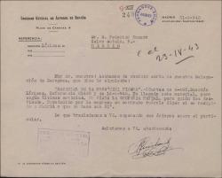 """Carta de Manuel Quislant a Federico Romero, desde la Sociedad General de Autores sobre un contrato relativo a la obra """"Mimi Pinsón""""."""