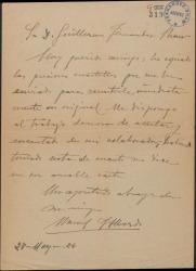 Carta de Manuel Fernández Alberdi a Guillermo Fernández-Shaw, diciéndole que se dispone a poner música a una composición que éste le ha enviado.
