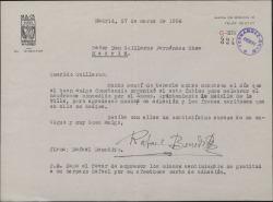 Carta de Rafael Benedito a Guillermo Fernández-Shaw, agradeciéndole la adhesión al homenaje que le ofrecieron.