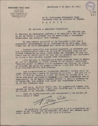Carta de Fernando Díaz Giles a Guillermo Fernández-Shaw, pidiéndole un favor en relación con la Sociedad General de Autores de España.