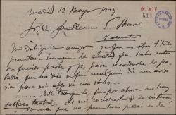 Carta de Arturo Lapuerta a Guillermo Fernández-Shaw, presentándose y comentando su amistad con su padre, Carlos Fernández Shaw.