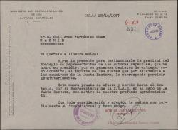 Carta de Ramón R. de Franco a Guillermo Fernández-Shaw, agradeciendo un donativo en nombre del Montepío de Representantes de Autores Españoles.