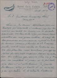Carta de José Vives a Guillermo Fernández-Shaw, criticando la forma de proceder de Federico Romero especialmente en lo relativo a la gestión de autorizaciones y explotación de las obras en que colaboró con ambos su padre, Amadeo Vives.