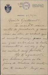 Carta de Víctor Granados a Guillermo Fernández-Shaw, enviándole unos recortes de prensa referidos a un concierto de aquél.