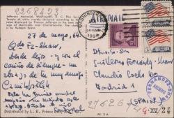 Tarjeta postal de Camilo José Cela a Guillermo Fernández-Shaw, enviándole un abrazo desde Washington.