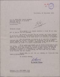 Carta de B. Bóveda Pérez a Guillermo Fernández-Shaw, agradeciéndole las gestiones a su favor para ingresar en la Sociedad General de Autores de España.