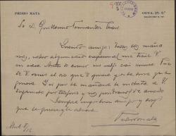 Carta de Pedro Mata a Guillermo Fernández-Shaw, concertando un encuentro entre ambos.