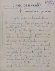Carta de Eladio Esparza a Guillermo Fernández-Shaw, contestando a una de éste y agradeciéndole la amistad que le brinda.