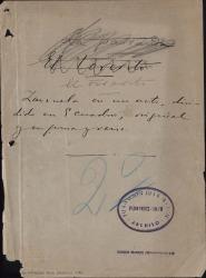 El forerito : zarzuela en un acto, dividido en 5 cuadros, original y en prosa y en verso / Carlos Fernández Shaw.