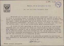 Carta de Alfredo Marquerie a Guillermo Fernández-Shaw, pidiéndole unos datos sobre los derechos de autor por las obras de su padre, con destino a un reportaje de ABC.