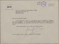 """Carta de Juan José Pradera a Guillermo Fernández-Shaw, agradeciéndole el envío de un ejemplar de """"Estampas isabelinas""""."""