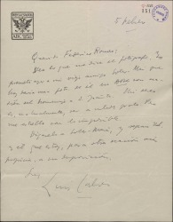 Carta de Luis Calvo a Federico Romero, lamentando no poder complacerle en su petición.
