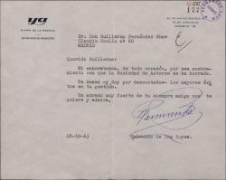 Carta de Raimundo de los Reyes a Guillermo Fernández-Shaw, dándole la enhorabuena por el nombramiento de Director de la Sociedad General de Autores de España.