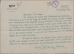 Carta de Carlos Fernández Cuenca a Guillermo Fernández-Shaw, dándole el pésame por la muerte de su hermano y evocando su vieja amistad.